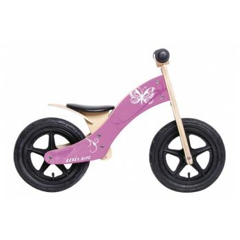 Rebel Kidz - Lernlaufrad Rebel Kidz Wood Air Holz, 12Zoll, Schmetterling pink preview image